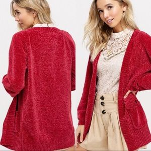 Sweaters Plus Size Chenille Red Knit Cardigan Sweater Poshmark